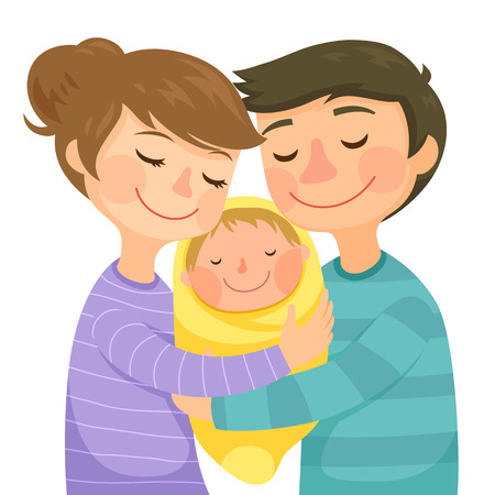 Illustration for Happy young parents hugging a small baby - Royalty Free Image