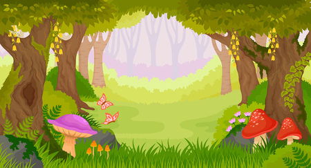 Illustration pour Bright fairy tale forest with copy space. - image libre de droit