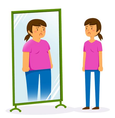 Ilustración de Unhappy woman looking in the mirror and seeing a fat image of herself - Imagen libre de derechos
