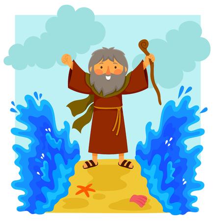 Ilustración de Cartoon illustration of happy Moses parting the red sea in the biblical story. - Imagen libre de derechos