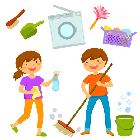 Illustration for Happy boy and girl cleaning the house together - Royalty Free Image