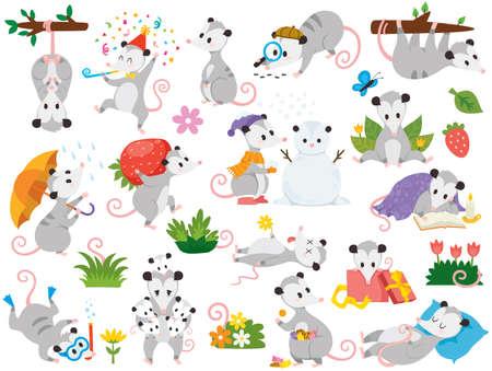 Illustration pour Possum clipart set. Cute cartoon possum characters in various poses. - image libre de droit