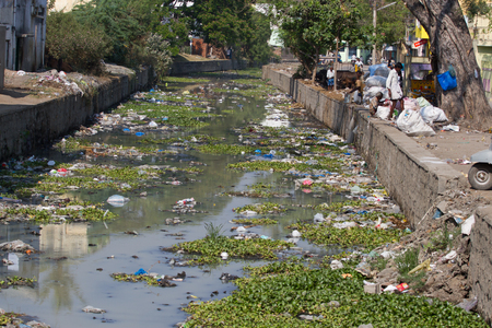 Photo pour Plastic polluted river in India, Tamil Nadu - image libre de droit
