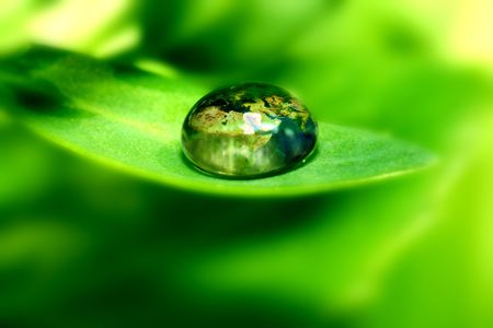 Foto de earth map in waterdrop reflection on green leaf - Imagen libre de derechos