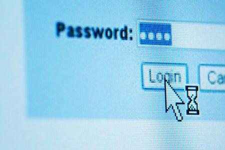 Photo pour login  password on lcd screen macro - image libre de droit