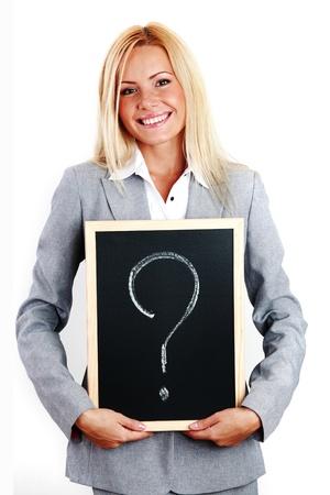 Photo pour business woman take question sign in hands - image libre de droit