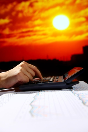 reseller early work calculate price skyscrapers under sunset