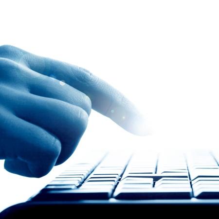 hand press a key on keyboard
