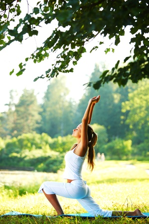 Foto de yoga woman on green park background - Imagen libre de derechos