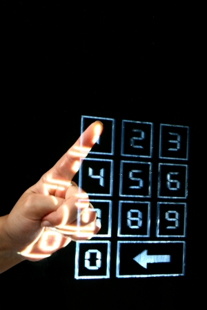 Photo pour enter secret code on numpad security control - image libre de droit