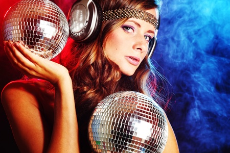 Photo for disco girl music in head phones - Royalty Free Image