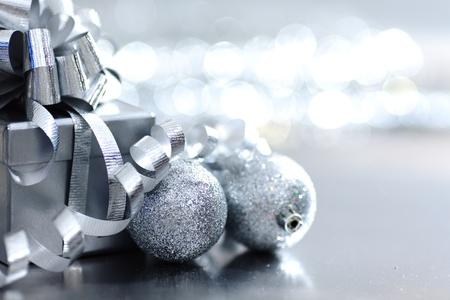silver christmas gift macro close up
