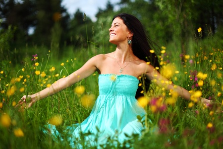 nature love woman on flower field