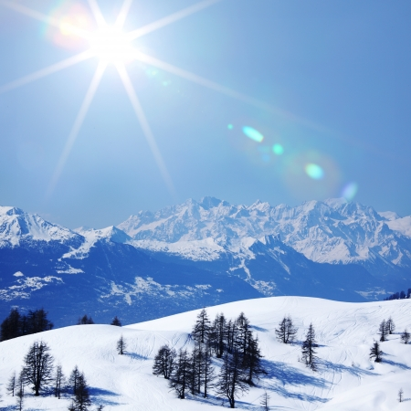 Photo for top of mountains sun in blue sky - Royalty Free Image
