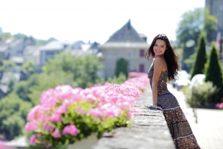 woman in flowers outdoor