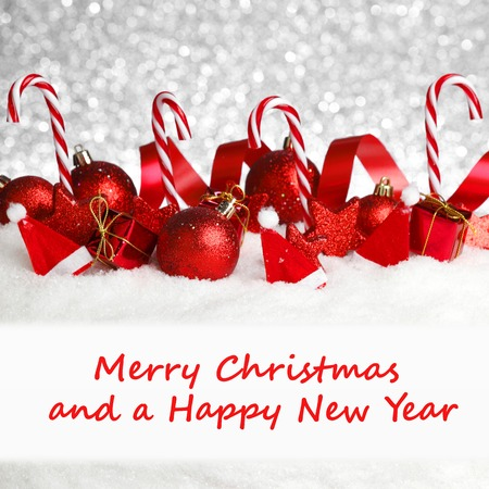 Photo for Merry christmas and happy new year card with red decoration - Royalty Free Image