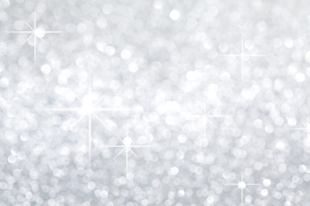 Photo for Silver festive glitter background with defocused lights - Royalty Free Image
