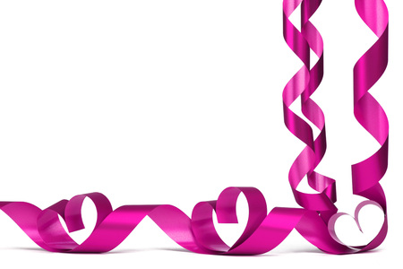 Valentines day frmae made of pink ribbon hearts, isolated on white