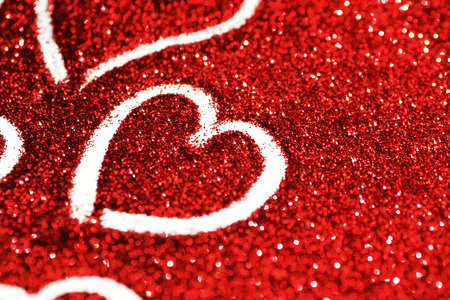 Photo for Red glitter background with hearts, valentines day design - Royalty Free Image