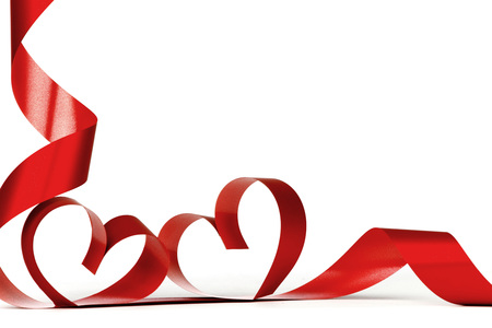 Foto de Ribbon hearts isolated on white frame, Valentines day design - Imagen libre de derechos