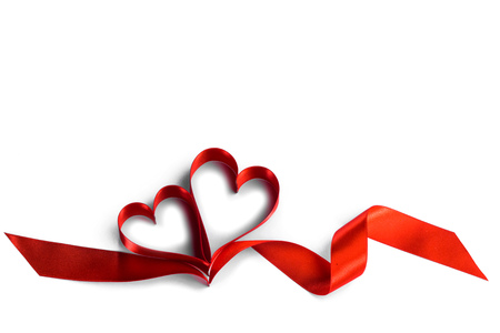 Photo pour Two ribbon hearts isolated on white background - image libre de droit