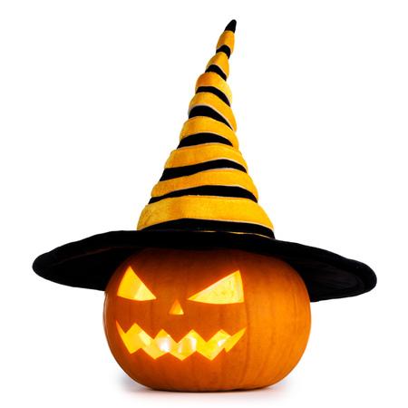 Foto de Jack O Lantern Halloween pumpkin with witches hat isolated on white background - Imagen libre de derechos
