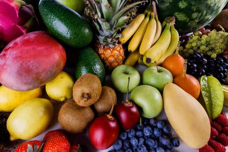 Photo for Assorted background of many tropical colorful fruits harvest - Royalty Free Image