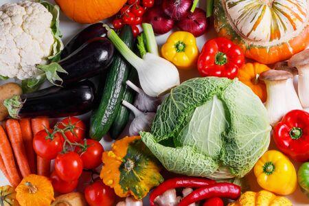 Photo pour Harvest of many vegetables , top view flat lay background - image libre de droit