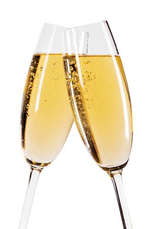 Photo pour Two glasses of champagne isolated on white background - image libre de droit