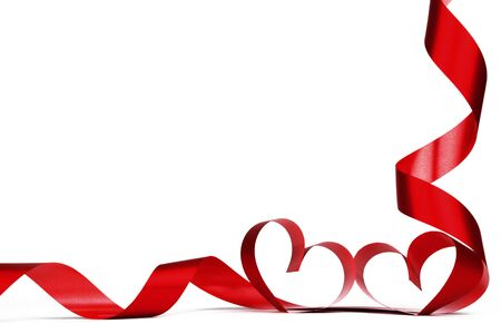 Photo pour Valentines day frmae made of red ribbon hearts, isolated on white - image libre de droit