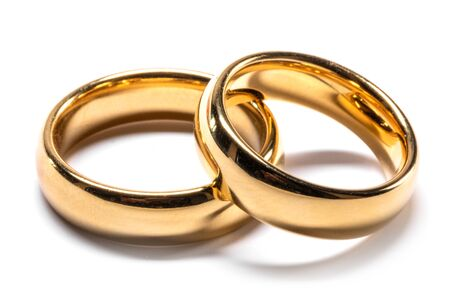 Foto für Couple of gold wedding rings isolated on white background - Lizenzfreies Bild