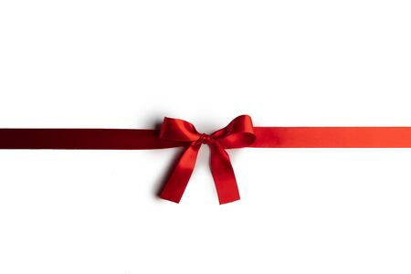 Photo pour Red satin ribbon bow isolated on white background - image libre de droit