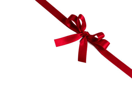 Photo pour Red gift bow isolated on white background holiday gift concept - image libre de droit