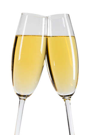 Photo pour Champagne in two glasses New Year celebration isolated on white background - image libre de droit