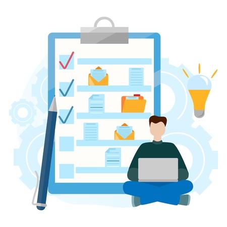 Illustration pour Checklist clipboard. Folder with document. Successful completion of business tasks. Questionnaire, survey, task list. Modern Flat vector illustration - image libre de droit