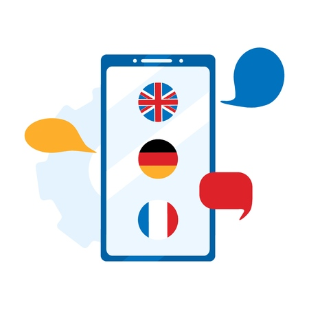 Illustration pour Concept online learning, choice of language courses, exam preparation, home schooling. German, English, French to choose from. Foreign language online learning. Flat vector illustration - image libre de droit