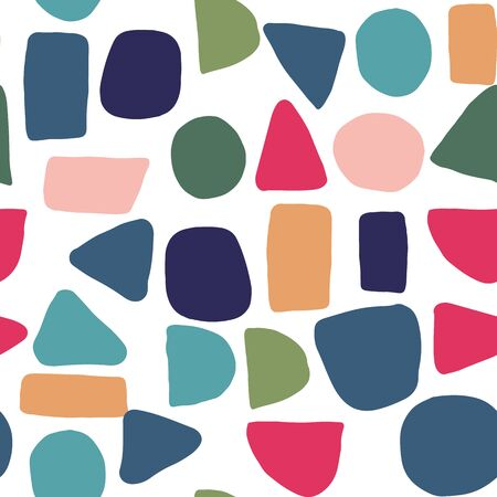 Photo pour Abstract creative shapes seamless pattern. Simple design texture with chaotic painted shapes. Backdrop for textile or book covers, wallpapers, design, wrapping - image libre de droit