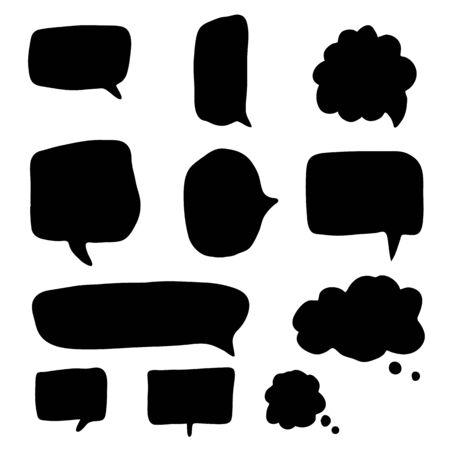 Illustration pour Set of hand drawn speech bubbles and dialog balloons. Collection template chat, message. Doodle blank comment design. Vector illustration. - image libre de droit