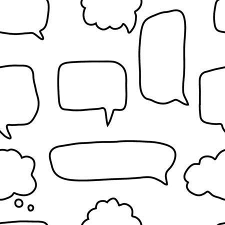 Illustration pour Doodle speech bubbles shapes seamless pattern on white background. Social media communication concept. Talk bubble speech icon wallpaper. Outline vector illustration. - image libre de droit