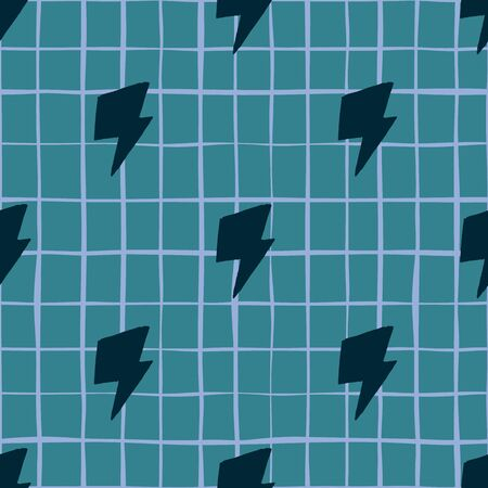 Ilustración de Geometric black thunder backdrop seamless pattern on lines background. Thunderbolt wallpaper. Lightning bolts. Design for fabric, textile print, kitchen textiles, wrapping, cover. Vector illustration - Imagen libre de derechos