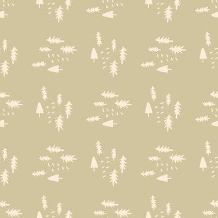 Illustration pour Christmas pattern in pastel colors. Light pink pines on beige background. - image libre de droit