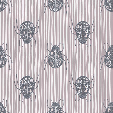 Illustration pour Fauna seamless pattern with folk bugs silhouettes. Pale purple insects print on stripped background. Animal nature artwork. Perfect for wallpaper, textile, wrapping, fabric. Vector illustration. - image libre de droit
