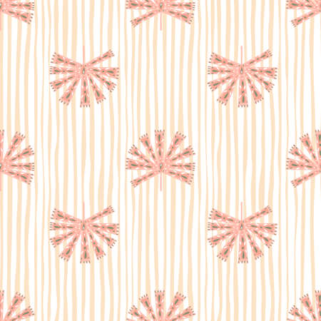 Foto für Geometric ornamental abstract monstera silhouettes seamless pattern. Pastel pink striped background. Designed for fabric design, textile print, wrapping, cover. Vector illustration. - Lizenzfreies Bild