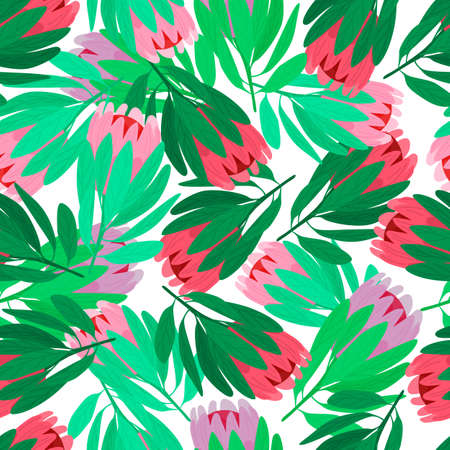 Illustration pour Nature seamless pattern with red and pink protea flowers elements. Isolated backdrop. Green leaves. Designed for fabric design, textile print, wrapping, cover. Vector illustration. - image libre de droit