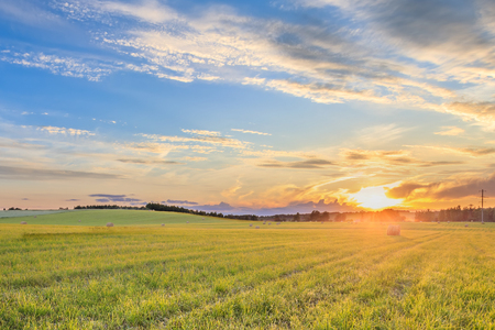 Photo for A field with stacks on a summer evening with a cloudy sky in the background. Procurement of animal feed in agriculture. Landscape. Sunset. - Royalty Free Image