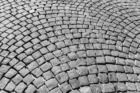 Photo for Top view on paving stone road. Old pavement of granite texture. Street cobblestone sidewalk. Abstract background for design. - Royalty Free Image