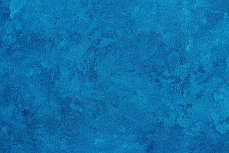 Photo pour Texture of blue decorative plaster or stucco. Abstract background for design. Art stylized banner with copy space for text. - image libre de droit