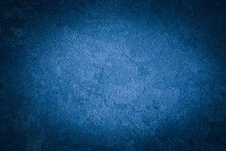 Foto de Blue decorative plaster texture with vignette. Abstract grunge background with copy space for design. - Imagen libre de derechos