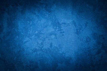 Photo pour Blue decorative plaster texture with vignette. Abstract grunge background with copy space for design. - image libre de droit