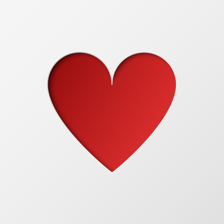 Photo pour Paper cut red heart on white background. Holiday design for valentines day greeting card, poster, banner. - image libre de droit